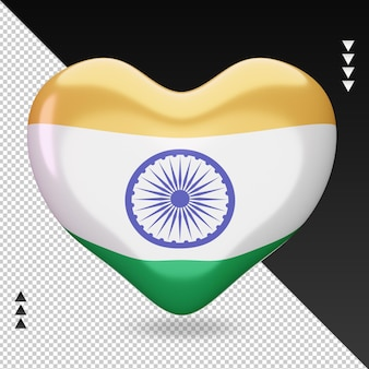 Love india flag heart renderização 3d, vista frontal