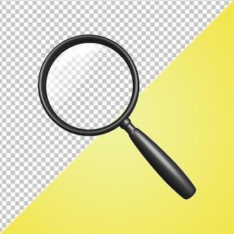Lupa preta com ícone 3d