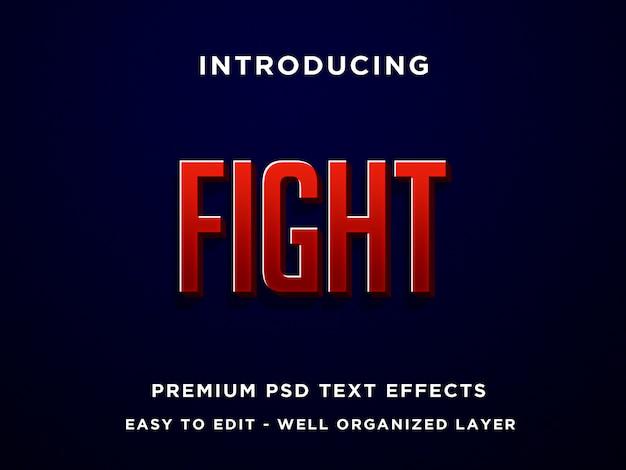 Luta, efeitos de texto 3d premium psd