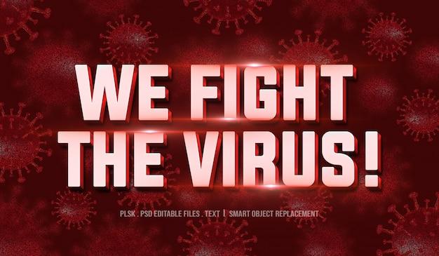 Lutamos contra o vírus! maquete de efeito de estilo de texto 3d