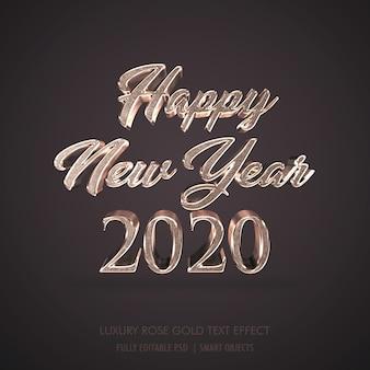 Luxo 3d feliz ano novo 2020, efeito de texto em metal ouro rosa