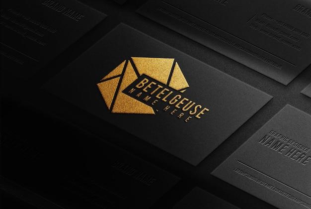 Luxo close up betelgeuse cartão de visita ouro em relevo modelo vista em perspectiva