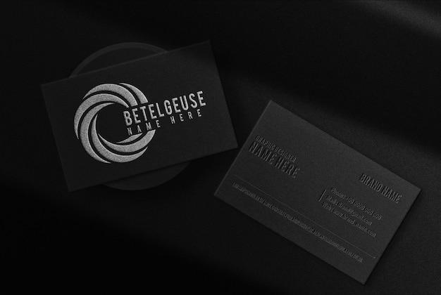 Luxo close up betelgeuse prata em relevo cartão de visita maquete vista superior