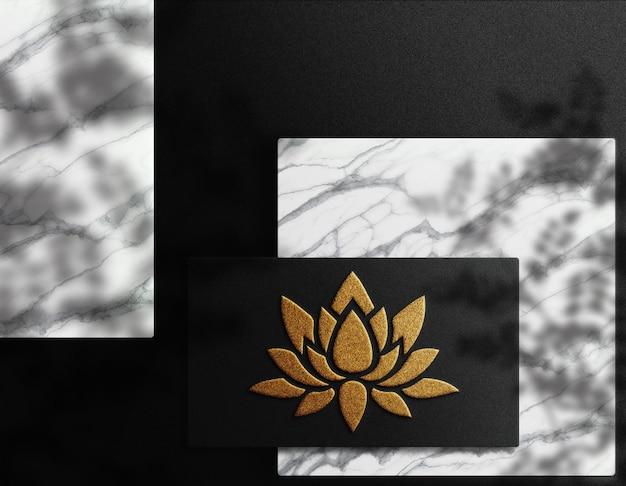 Luxo close-up logotipo em relevo modelo de cartão de visita vista superior