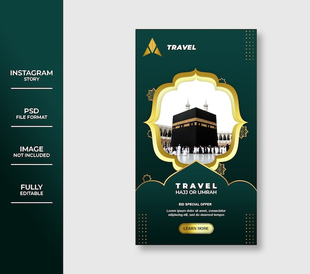 Luxo eid mubarak umrah e hajj tour e viagens Psd Premium