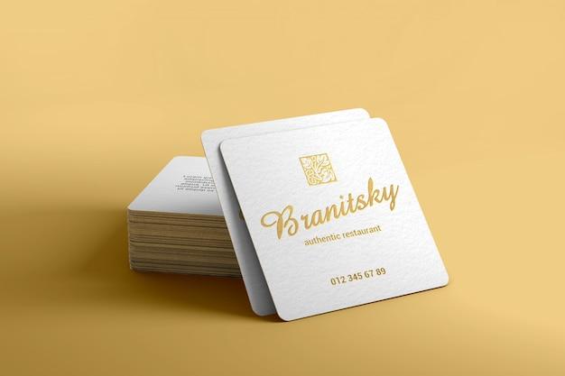 Luxo, marca, quadrado, cartão negócio, mockup