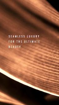 Luxo perfeito para a beleza suprema em um fundo de folha de cobre