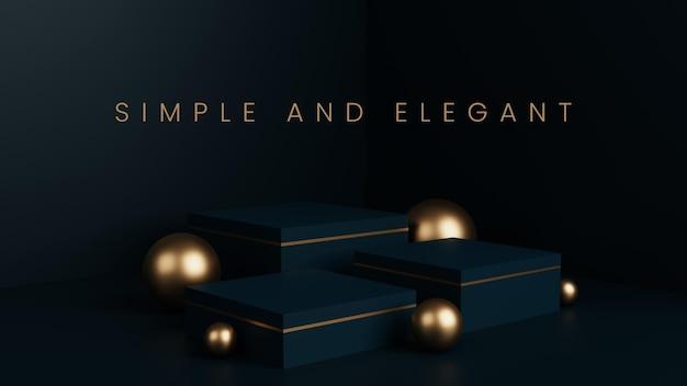 Luxo simples com três pódio