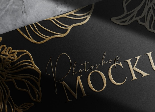 Luxuoso papel em relevo dourado com vista em perspectiva