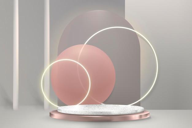 Luxuoso produto 3d display psd com pódio e anéis de néon