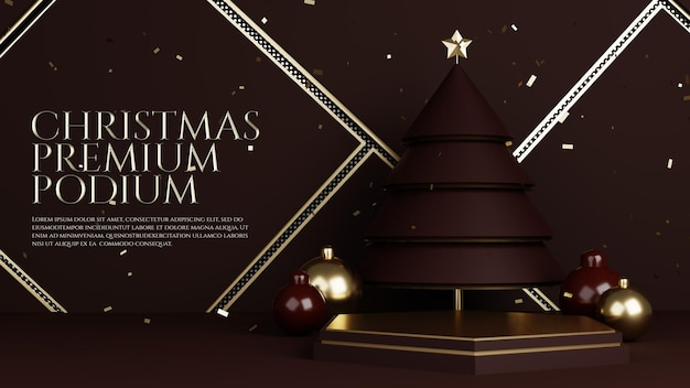 Luxury christmas tree gold premium podium