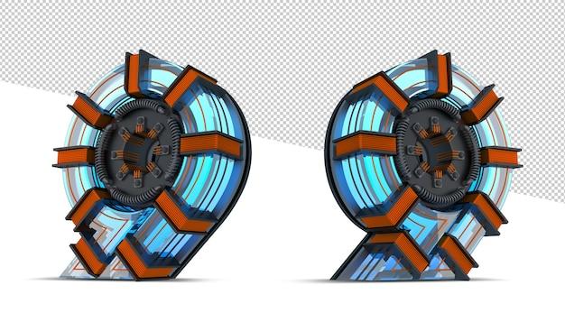 Luz de néon azul de número 3d com fio de cobre