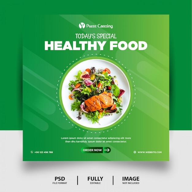 Luz verde cor comida saudável mídias sociais post banner Psd Premium