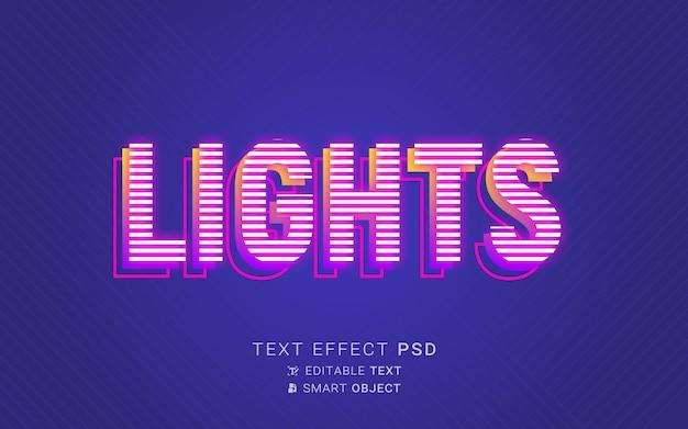 Luzes com efeito de texto néon