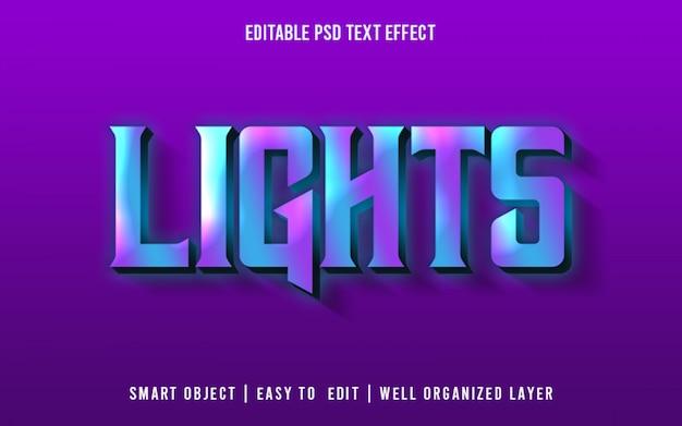Luzes, estilo de efeito de texto psd