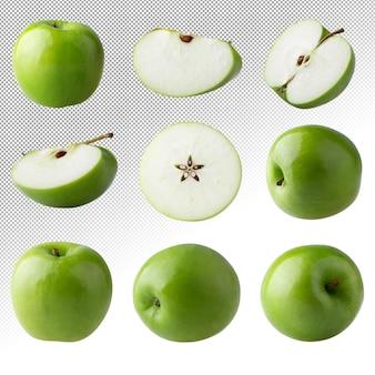 Maçã verde e fatia cortada com semente isolada