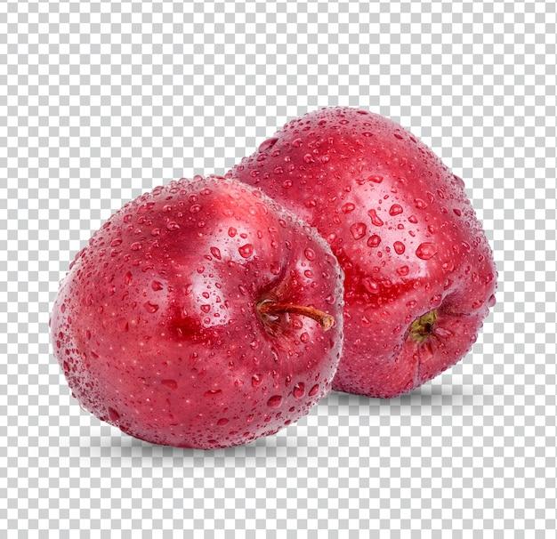 Maçã vermelha com gotas isoladas premium psd
