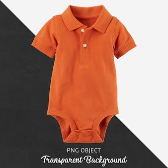 Macacão laranja polo para bebê ou crianças em fundo transparente