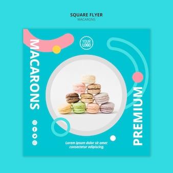 Macarons deliciosos premium panfleto quadrado