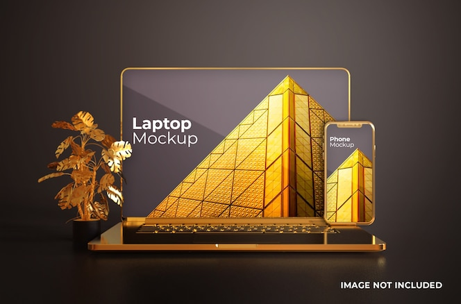 Macbook gold com maquete de smartphone vista frontal