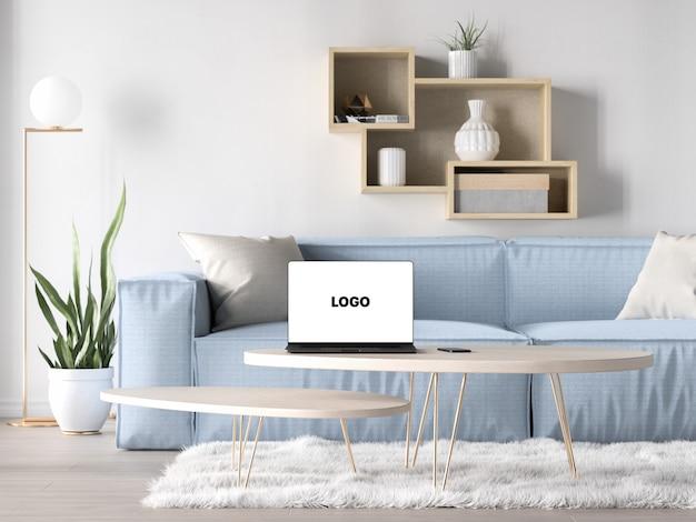 Macbook pro com menos lentes na maquete da sala de estar
