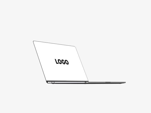 Macbook pro com moldura lateral e visualização reduzida com barra de toque
