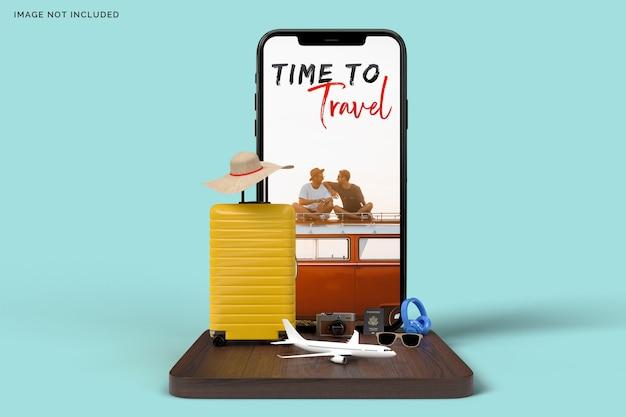Mala e smartphone com acessórios de viagem