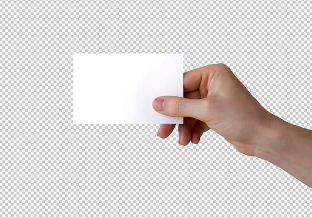 Mand isolado segurando um cartão de visita