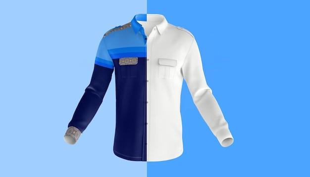 Manga comprida vestido camisa frontal maquete