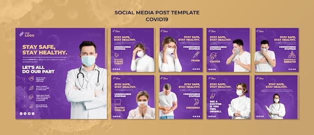 Mantenha-se seguro e saudável covid-19 post de mídia social