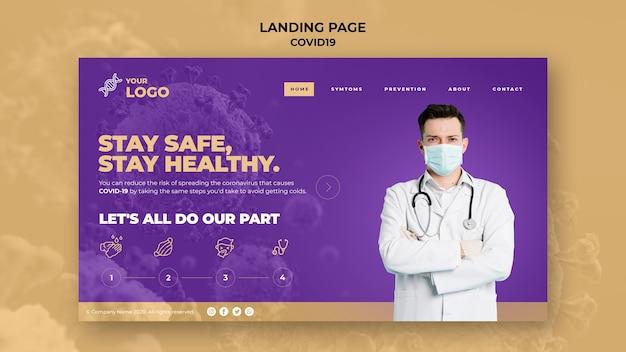 Mantenha-se seguro e saudável modelo de página de destino covid-19
