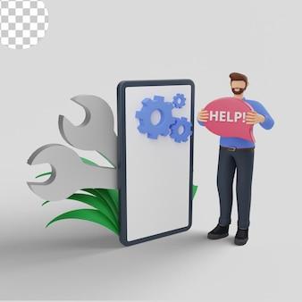 Manutenção de marketing digital de ilustrações 3d