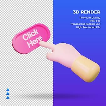 Mão 3d clique aqui renderizando a vista esquerda