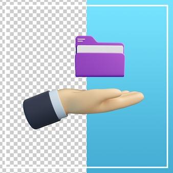 Mão 3d com ícone de arquivo