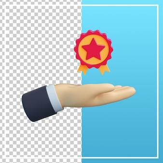 Mão 3d com ícone de avaliação