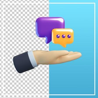 Mão 3d com ícone de bolha de bate-papo