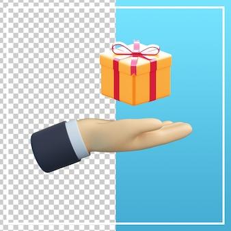 Mão 3d com ícone de caixa de presente