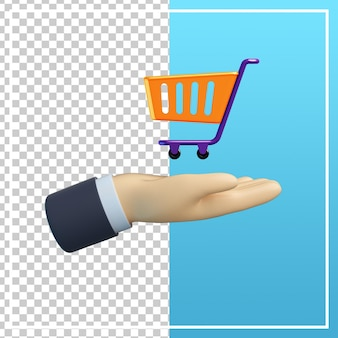 Mão 3d com ícone de carrinho de compras