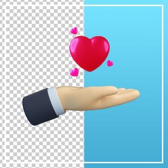 Mão 3d com ícone de coração isolado