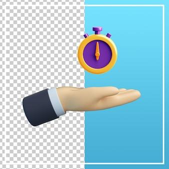 Mão 3d com ícone de cronômetro