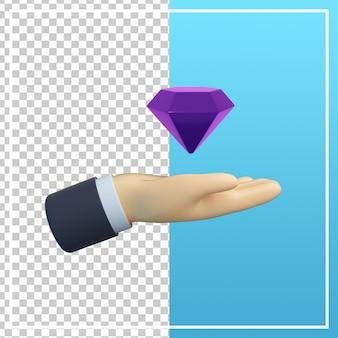 Mão 3d com ícone de diamante