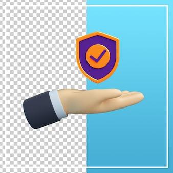 Mão 3d com ícone de escudo