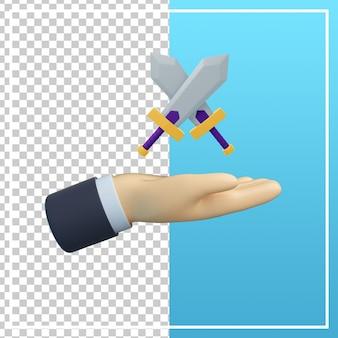 Mão 3d com ícone de espada
