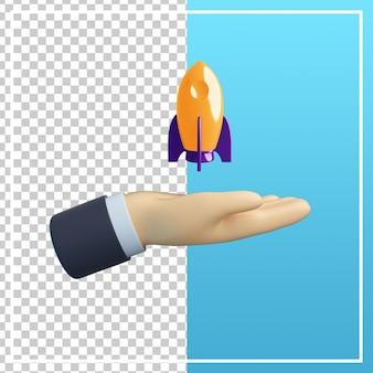 Mão 3d com ícone de foguete isolado
