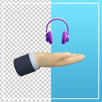 Mão 3d com ícone de fone de ouvido