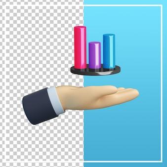 Mão 3d com ícone de gráfico isolado
