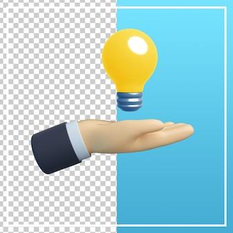 Mão 3d com ícone de lâmpada