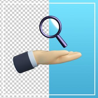 Mão 3d com ícone de pesquisa