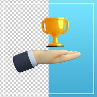 Mão 3d com ícone de troféu
