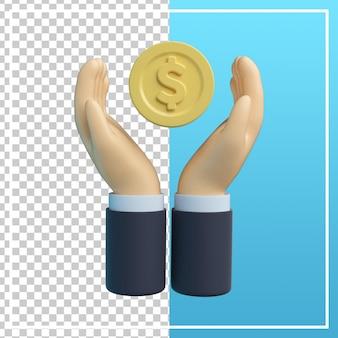 Mão 3d com ícone financeiro de moeda